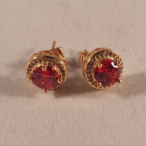 18K Gold Ruby Red Topaz Zircon Stud Earrings GF